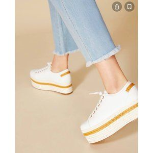 Jaggar Prominent Leather Platform Sneakers White